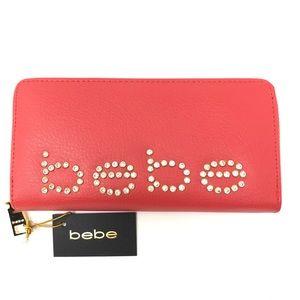 BEBE Red Diamond Logo Full Zip Wallet NWT $49